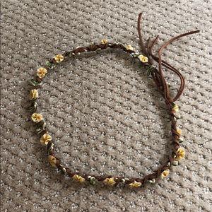 Free People Braided Leather Flower Crown